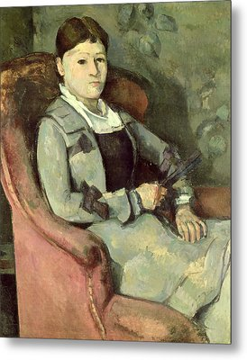 The Artists Wife In An Armchair, C.187888 Oil On Canvas Metal Print by Paul Cezanne