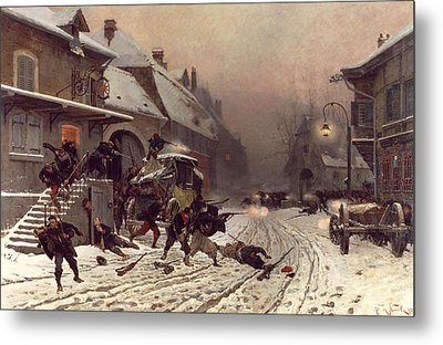The Attack At Dawn Metal Print by Alphonse Marie De Neuville