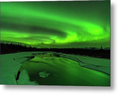 The Aurora Lights Up The Sky In Canada Metal Print