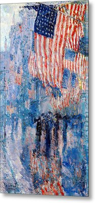 The Avenue In The Rain Metal Print by Frederick Childe Hassam