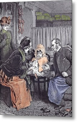 The Babies First Shoes 1891 Shoeshop Shoe Seller Mother Metal Print by English School