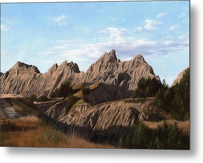 The Badlands In South Dakota Oil Painting Metal Print by Rachel Stribbling