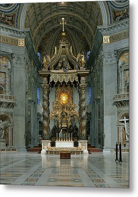 The Baldacchino, The High Altar And The Chair Of St. Peter Photo Metal Print by Gian Lorenzo Bernini