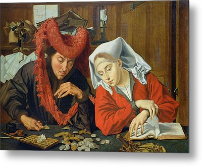 The Banker And His Wife Metal Print by Marinus van Roejmerswaelen