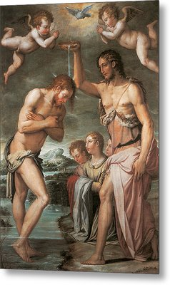 The Baptism Of Christ Metal Print by Giorgio vasari