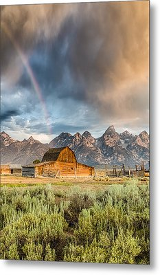 The Barn At The End Of The Rainbow Metal Print by Andres Leon
