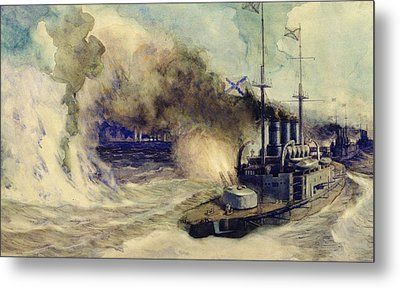 The Battle Between The Black Sea Fleet And The Armoured Cruiser Goeben Metal Print