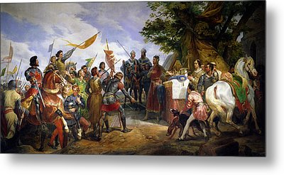 The Battle Of Bouvines Metal Print by Emile Jean Horace Vernet