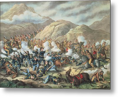 The Battle Of Little Big Horn, June 25th 1876 Metal Print by American School