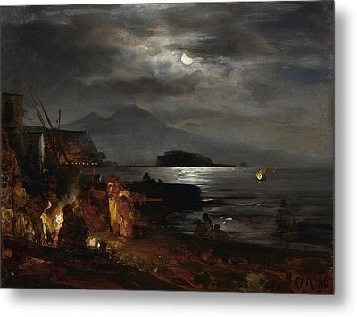 The Bay Of Naples In The Moonlight  Metal Print