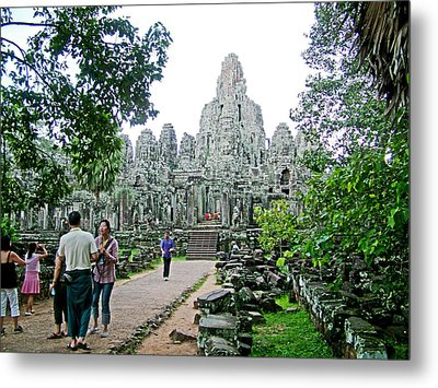 The Bayon In Angkor Thom In Angkor Wat Archeological Park-cambodia Metal Print by Ruth Hager