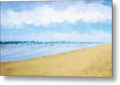 The Beach Abstract Art Metal Print by Ann Powell