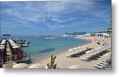 Metal Print featuring the photograph The Beach At Cannes by Allen Sheffield