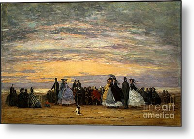 The Beach At Villerville Metal Print by Celestial Images