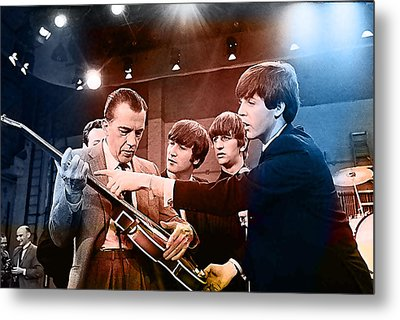The Beatles On The Ed Sullivan Show Metal Print by Marvin Blaine