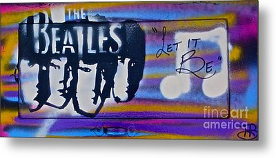 The Beatles Purple Metal Print by Tony B Conscious