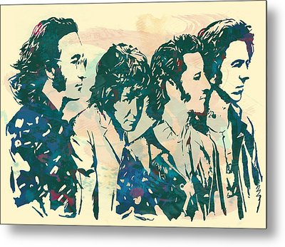 The Beatles - Stylised Pop Art Drawing Potrait Poser Metal Print by Kim Wang