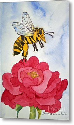 Metal Print featuring the painting The Bee And The Rose by Shirin Shahram Badie