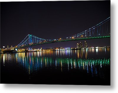 The Ben Franklin Bridge At Night Metal Print by Bill Cannon