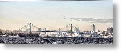 The Ben Franklin Bridge From Penn Treaty Park Metal Print by Bill Cannon