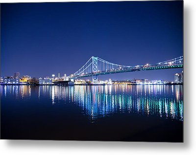 The Benjamin Franklin Bridge At Night Metal Print by Bill Cannon