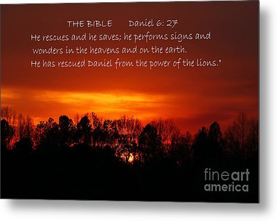 The Bibles Says.... Daniel 6 Vs 27 Niv Metal Print