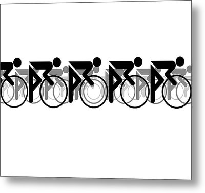 Metal Print featuring the digital art The Bicycle Race 2 White by Brian Carson