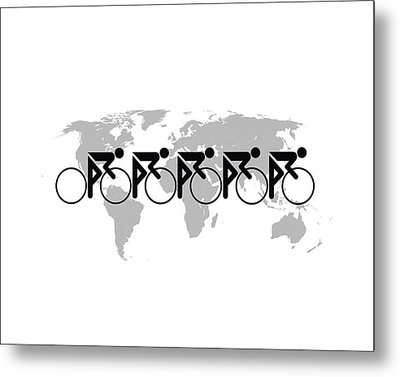 Metal Print featuring the digital art The Bicycle Race 3 by Brian Carson