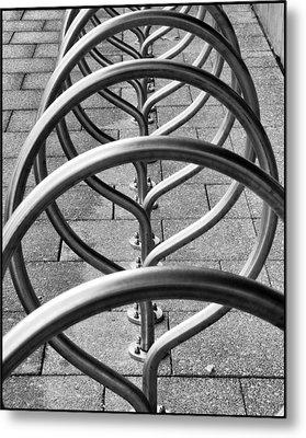The Bicycle Rack Metal Print by Geraldine Alexander