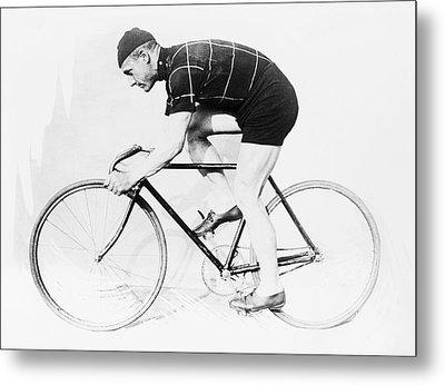 The Bicyclist - 1914 Metal Print by Daniel Hagerman