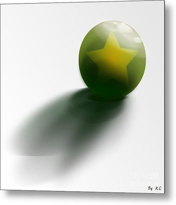 Green Ball Decorated With Star White Background Metal Print
