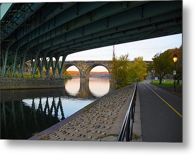 The Bike Path Along The Schuylkill River Metal Print by Bill Cannon