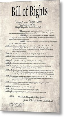 The Bill Of Rights Parchment Metal Print by Daniel Hagerman