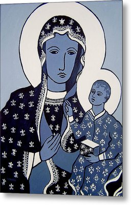The Black Madonna In Blue Metal Print