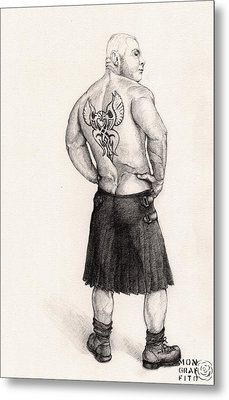The Black Silk Kilt Metal Print