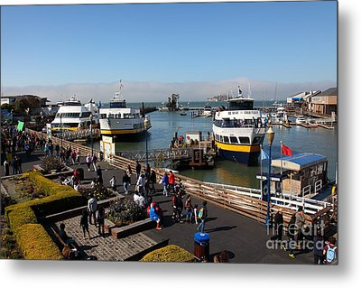 The Blue And Gold Fleet Ferry Boat At Pier 39 San Francisco California 5d26040 Metal Print by Wingsdomain Art and Photography