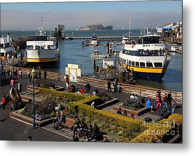 The Blue And Gold Fleet Ferry Boat At Pier 39 San Francisco California 5d26044 Metal Print by Wingsdomain Art and Photography