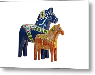 The Blue And Red Dala Horse Metal Print