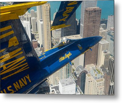 The Blue Angels Over Chicago Metal Print by Specialist 1st Class Michael Lindsey