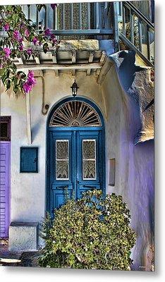 The Blue Door-santorini Metal Print
