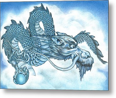 The Blue Dragon Metal Print by Troy Levesque