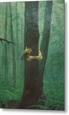 The Blue-green Forest Detail Metal Print by Derek Van Derven