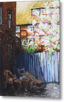 The Blue Paling - Backyard Of The Arthouse Buetzow Metal Print by Barbara Pommerenke