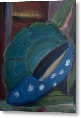Metal Print featuring the painting The Blue Shoe And The Plate 2 by Darlene Berger