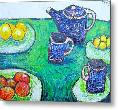 The Blue Teapot Metal Print by Clarence Major