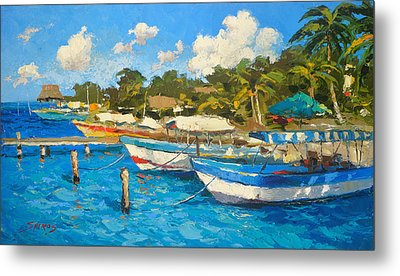The Boat By The Shore Metal Print