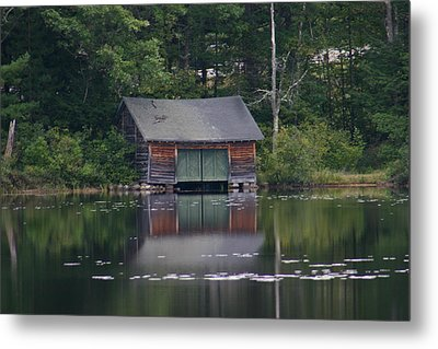 Metal Print featuring the photograph The Boat House On Mt Chocorua Lake by Denyse Duhaime