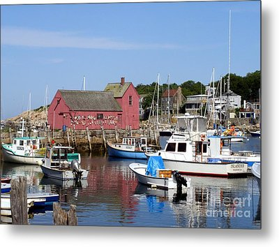The Boat Yard At Rockport Metal Print by Mary Lou Chmura
