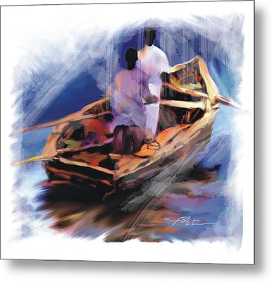 Metal Print featuring the painting The  Boatmen by Bob Salo