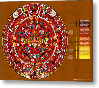 The Book Of The Sun Aztec Calendar Metal Print